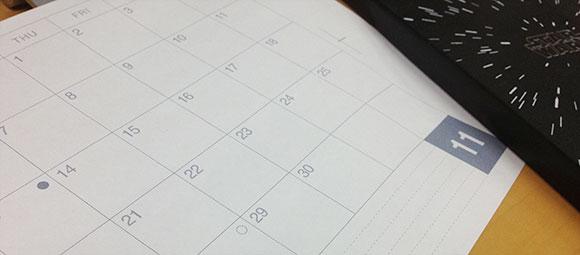 2012-11月カレンダーとモレスキンノート
