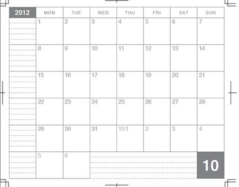 試作カレンダーのスクショ
