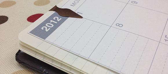 ラージサイズノートにカレンダー