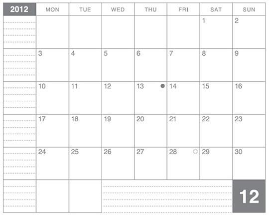 ラージサイズノートに貼るカレンダー2012年12月版