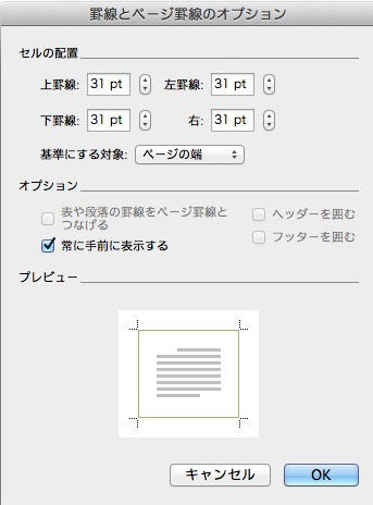 ページ罫線のオプション画面