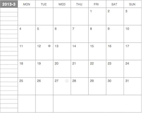 モレスキンポケットにギリギリぴったり貼るカレンダー2013年3月版
