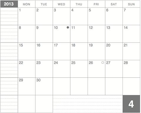2013年4月版モレスキンラージサイズノートに貼るカレンダー