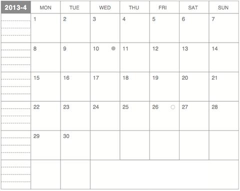 2013年4月版-モレスキンポケットノートにギリギリぴったり貼るカレンダー