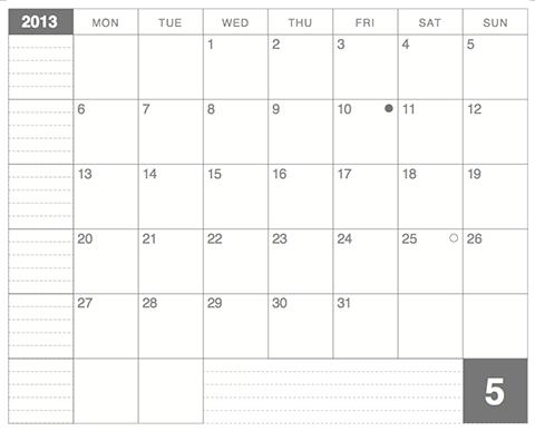 モレスキンラージサイズノート用カレンダー2013年5月版