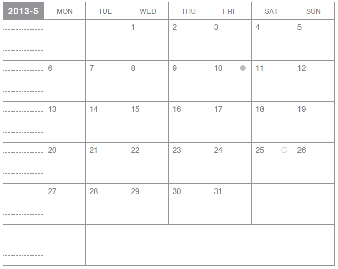 モレスキンポケット用カレンダー2013年5月版