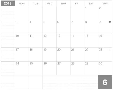 ラージサイズノート用カレンダー