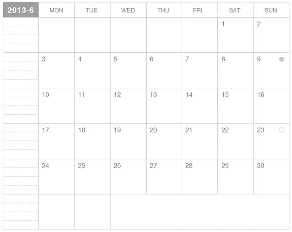 モレスキンカレンダー2013年6月版