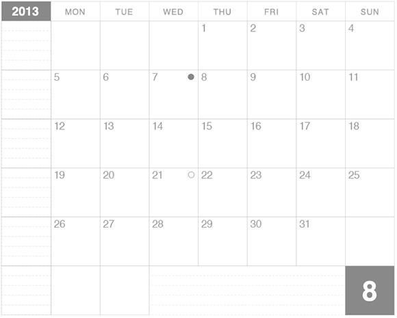 ラージサイズノートに貼るカレンダー8月版