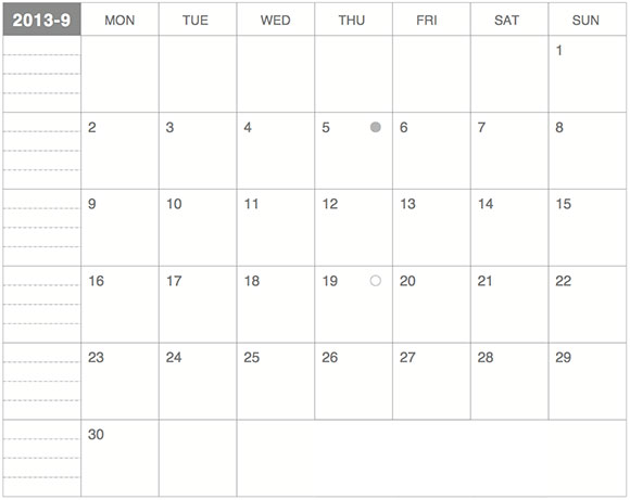 ギリギリぴったり貼るカレンダー9月版