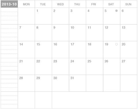 モレスキンカレンダー2013年10月版