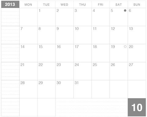 2013年10月版モレスキンカレンダー