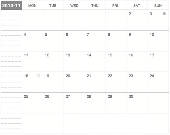 ギリギリぴったり貼るカレンダー2013年11月版