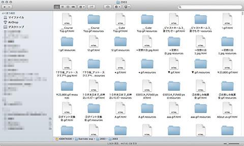エクスポートされたファイルの状態