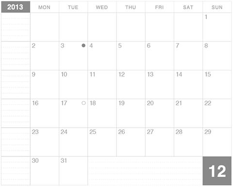 モレスキンラージサイズノートに貼るカレンダー2013年12月版