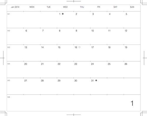 2014年1月版カレンダーデザイン