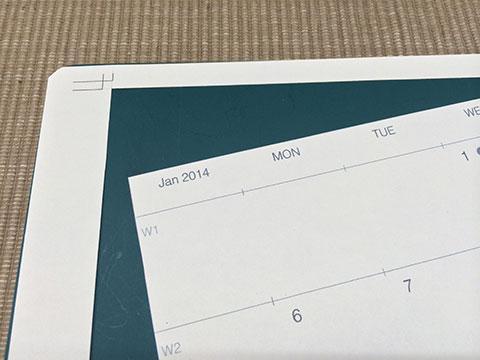 印刷後カレンダーを切り取る
