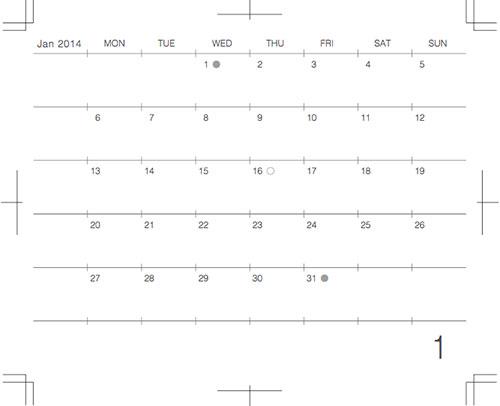 モレスキンポケットに貼るカレンダー2014年1月版