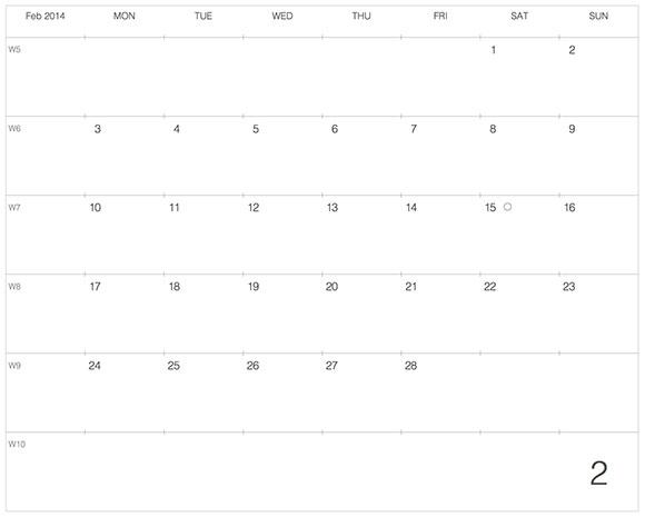 ラージサイズノートに貼る大きなカレンダー2014年2月版