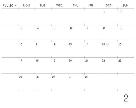 モレスキンポケットにギリギリぴったり貼るカレンダー2014年2月版