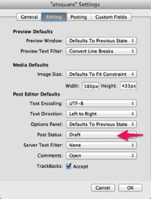 ドラフトで保存するオプション設定