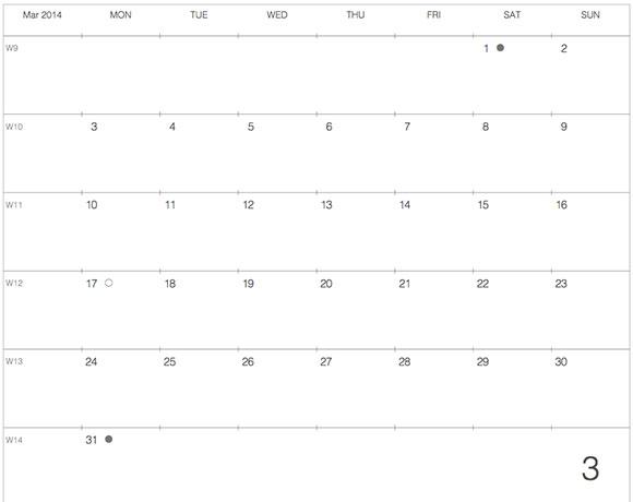 モレスキンラージサイズノートに貼るカレンダー2014年3月版