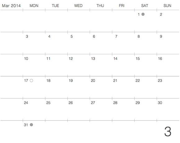 モレスキンポケットにギリギリぴったり貼るカレンダー2014年3月版デザイン