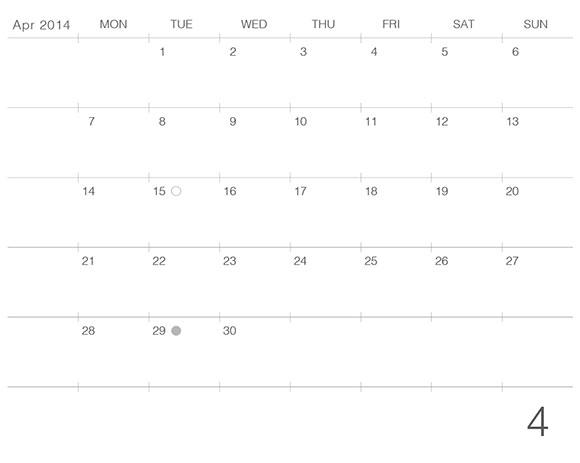 モレスキンラージサイズノートブックに貼るカレンダー2014年4月版のプレビュー