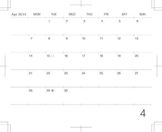 モレスキンポケットにギリギリぴったり貼るカレンダー2014年4月版のプレビュー