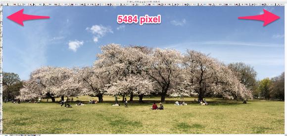 Photoshopで開いたパノラマ写真