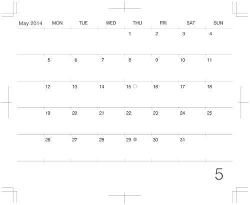 2014年5月版カレンダーデザイン