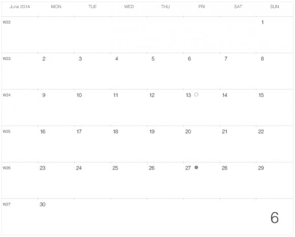 """レスキンラージサイズノートに貼る """"大きな"""" カレンダー 2014年6月版"""