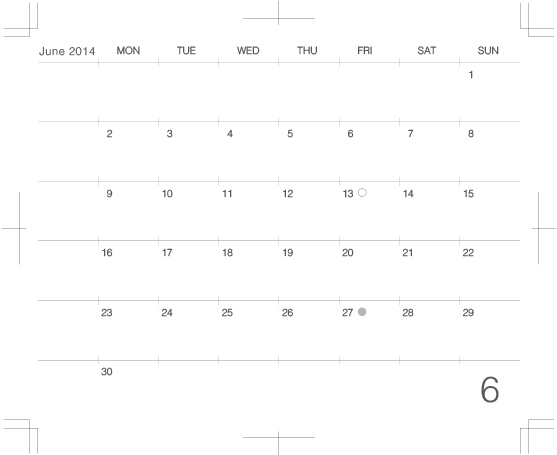2014年6月版モレスキンポケット用カレンダー