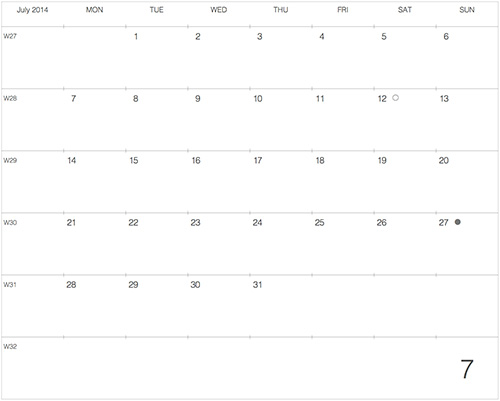 """モレスキンラージサイズノートに貼る """"大きな"""" カレンダー 2014年7月版"""