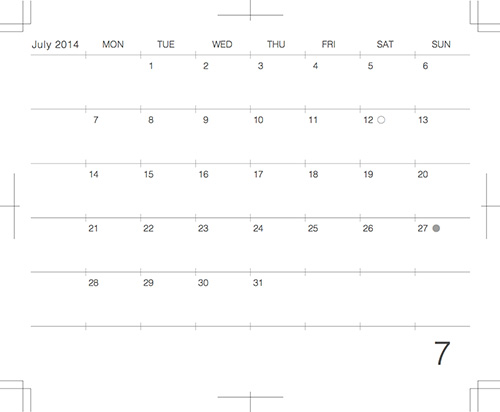 2014年7月版モレスキンポケットにギリギリぴったり貼るカレンダー