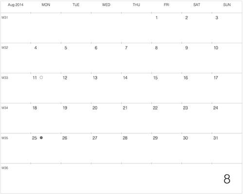 2014年8月のカレンダーデザイン