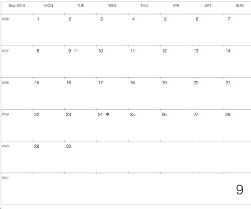 """モレスキンラージサイズノートに貼る """"大きな"""" カレンダー 2014年9月版"""