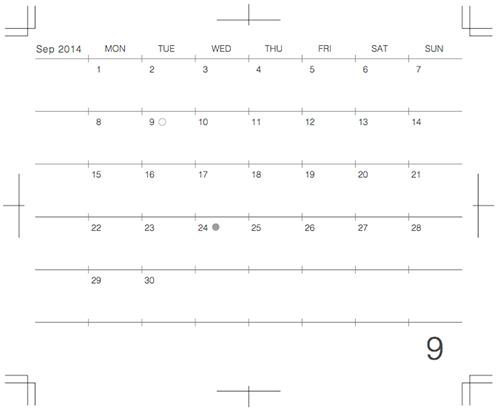 モレスキンポケットにギリギリぴったり貼るカレンダー2014年9月版