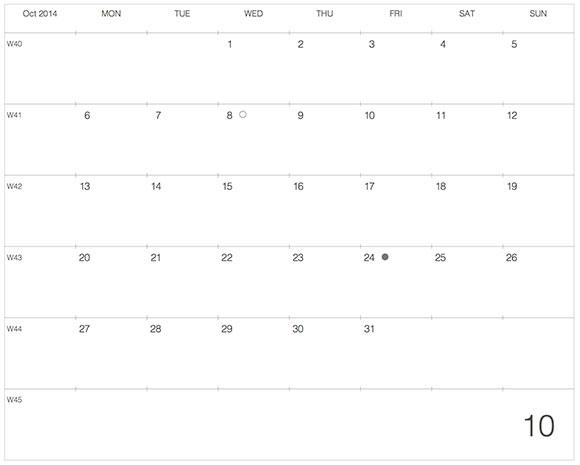 2014年10月版カレンダーデザイン