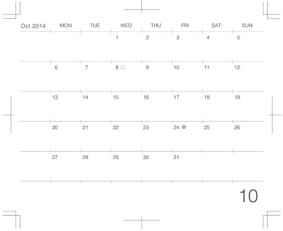 モレスキンカレンダーのデザイン