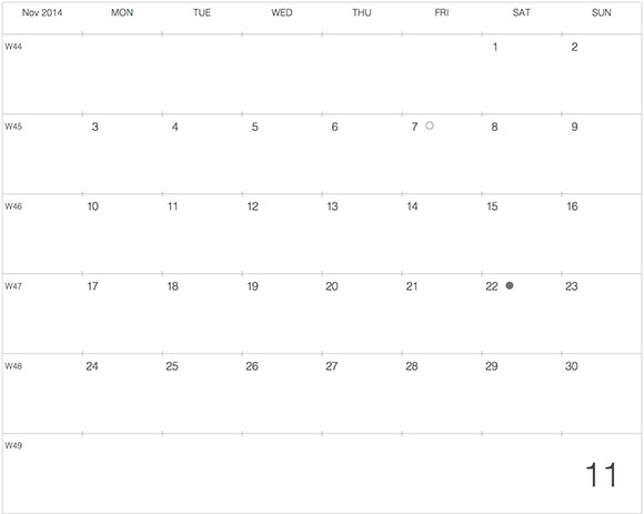 2014年11月版 モレスキンラージサイズノートに貼る大きなカレンダーサムネール